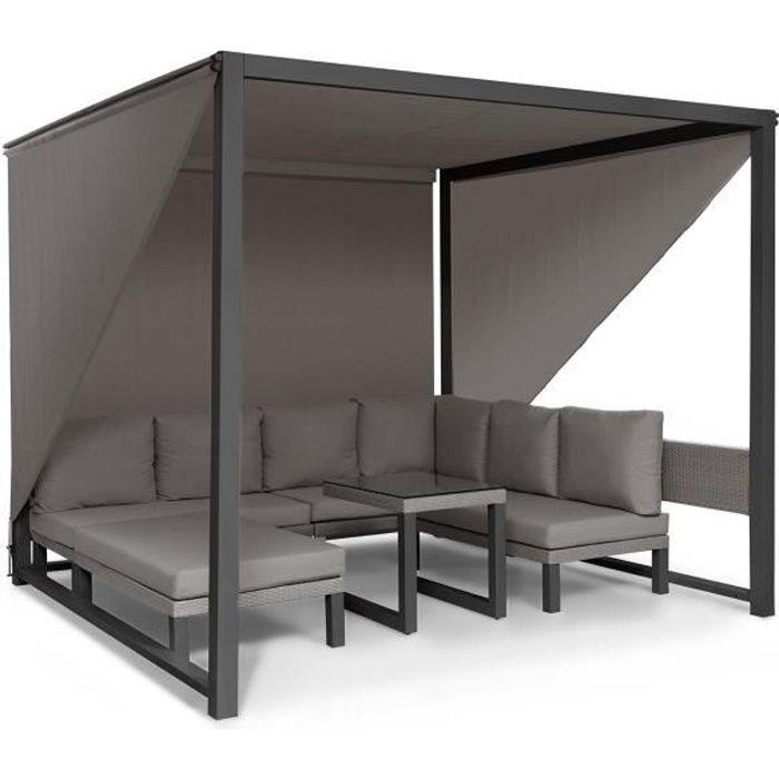 Blumfeldt Havanna Combiné Pavillon de jardin 270 x 230 x 270cm & salon lounge pour 8 personnes - Polyrotin & polyester - Gris