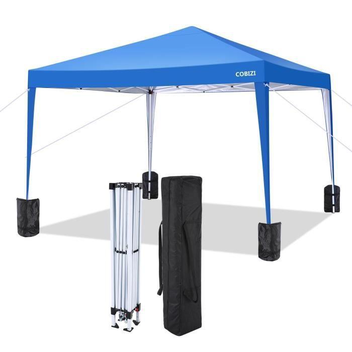 Tonnelle Tente de Réception pour Jardin 3x3m, Chapiteau Barnum Pliante 3 Hauteur réglable, idéal pour les fêtes, campings, Bleu