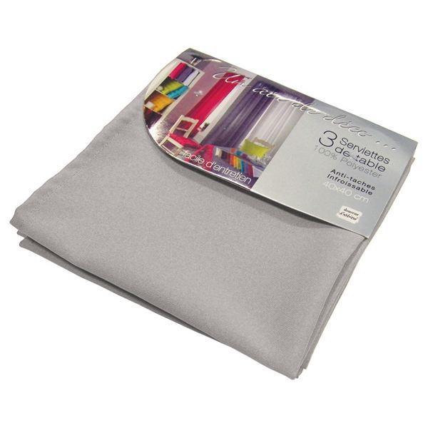 Lot de 3 serviettes de table ESSENTIEL gris