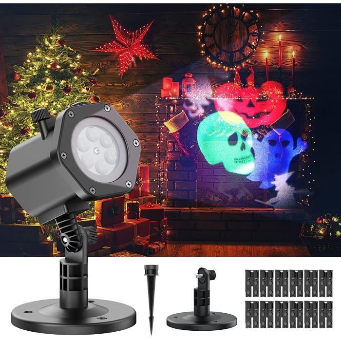 GOBRO Projecteur Noel Exterieur, Projecteur Halloween Led avec 12 Effets de Motifs, Etanche IP65, Lampe Projecteur LED Intérieur, po