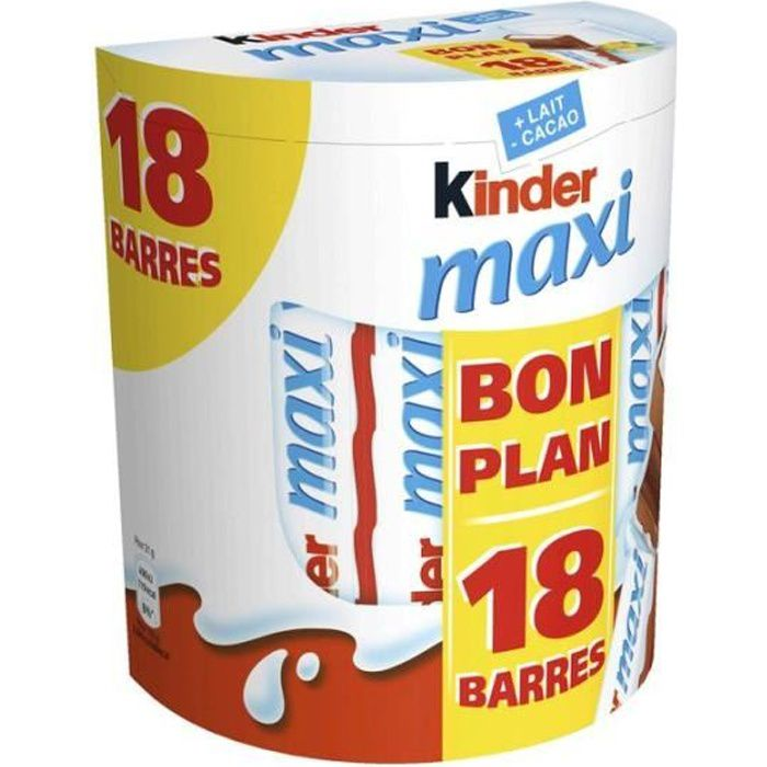 KINDER Lot de 18 Barres chocolatées Maxi - 378 g