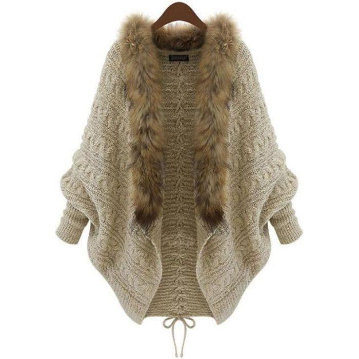 Cape Femme Tricotée Col de fourrure Grande Taille Mode Chandail Shawl Épaissie Chaud Hiver Taille Unique