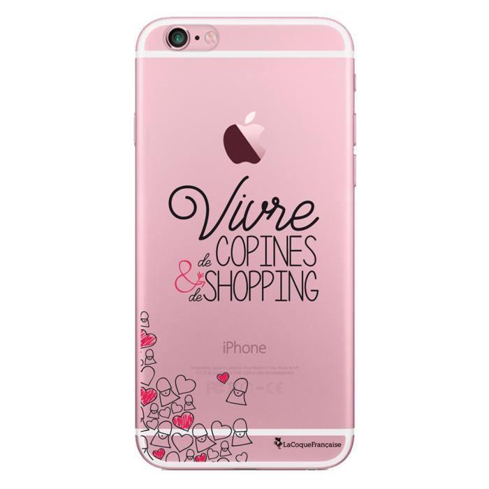 Coque iPhone 6 iPhone 6S rigide transparente Vivre de copines et de shopping Ecriture Tendance et Design La Coque Francaise