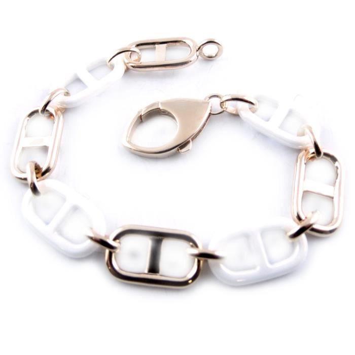 Bracelet Plaqué Or -Maille Marine- céramique bl…