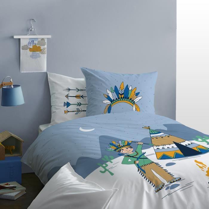 Matt&Rose Petit Indienbleu Housse de Couette avec taie, Coton, Bleu-Blanc, 200x140 cm