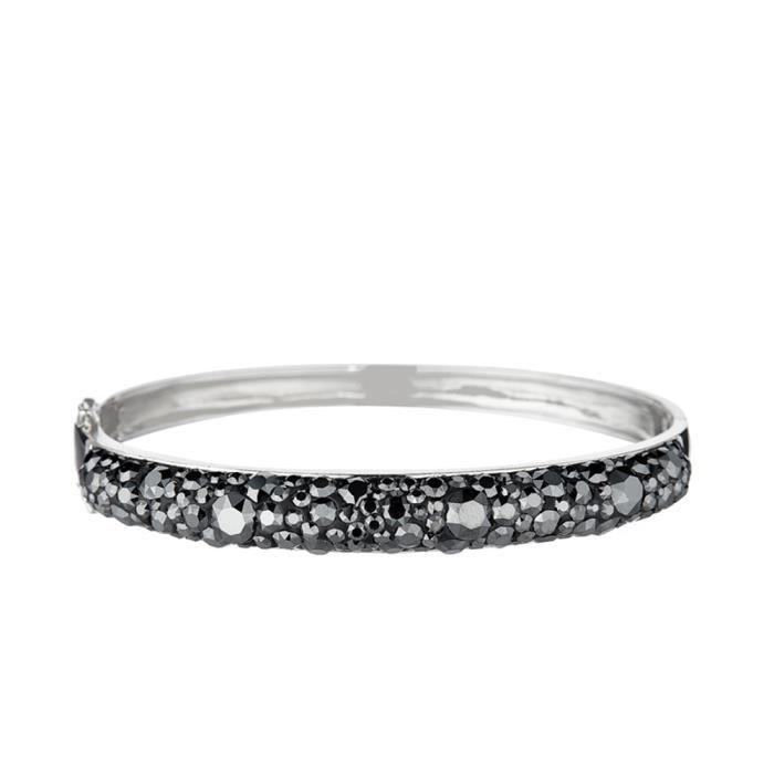 Mes-bijoux.fr - Bracelet Femme Métal Noir et ornée de Cristaux de Swarovski Element - WRI3N887gv