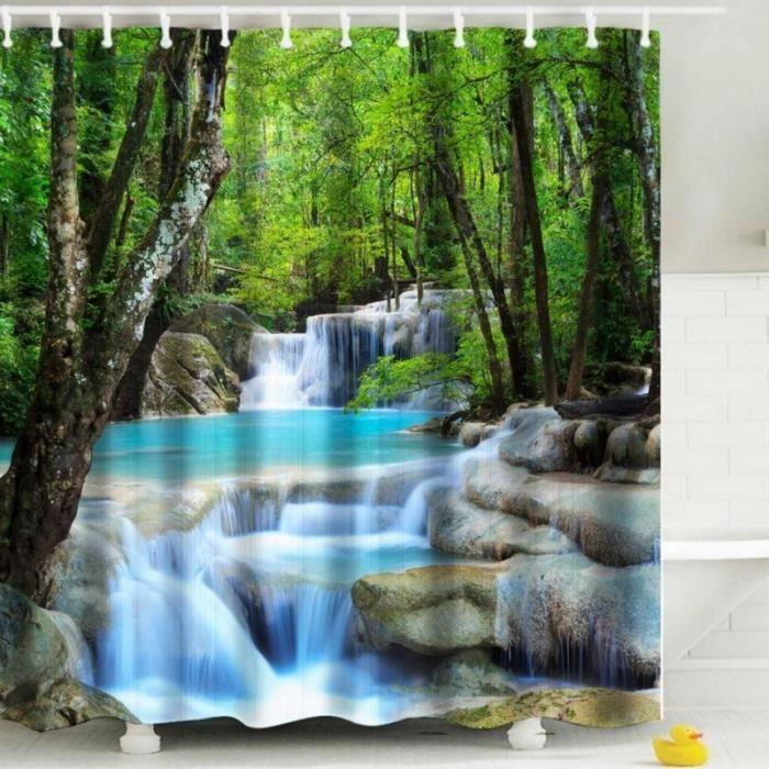Rideau de douche ZEN L'eau bambous pierres fleur anneaux inclus 3D effect imperméable 180 x 200 cm