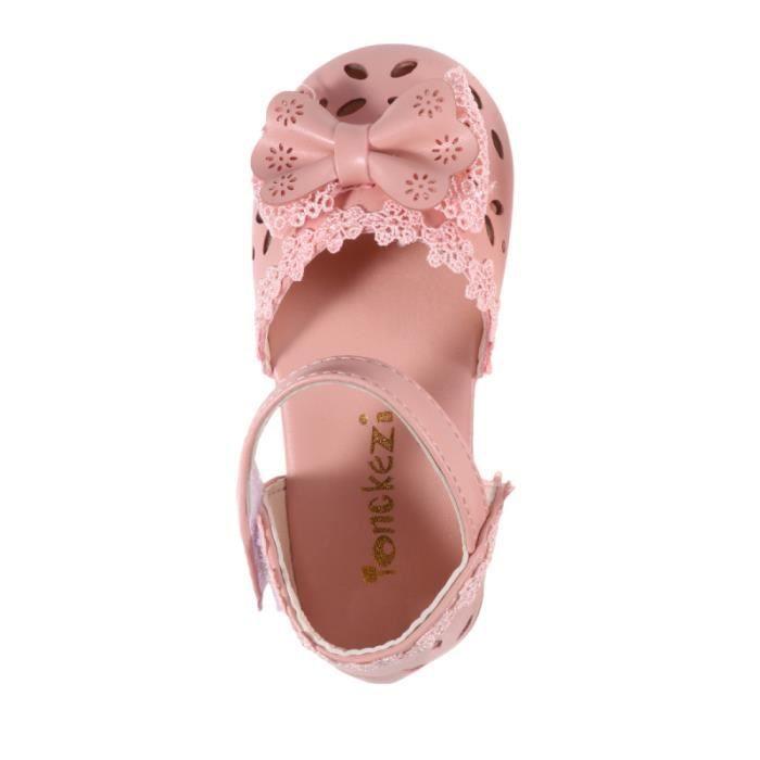 1 Paire de Enfants Sandales Bowknot Décor Confortable doux PU En Cuir D'été Chaussures pour Tout-petits CHAUSSURES DE RANDONNEE