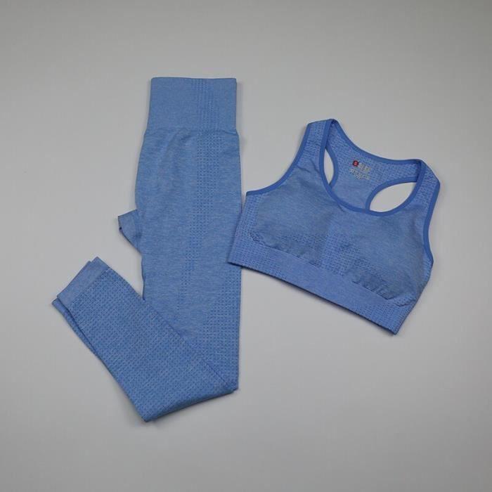 Textile Fitness - Danse,Vital ensemble de Yoga sans couture vêtements pour femmes 3 pièces à manches - Type bra pants sky blue