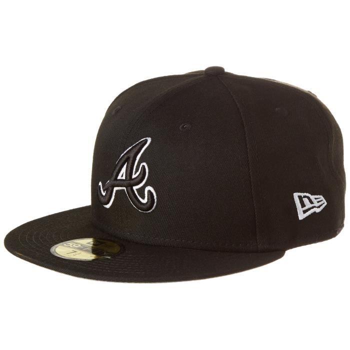 New Era Hommes 59FIFTY Fitted League Basic Atlanta Braves Mlb Casquette Noir Black 7 14 - 57,7cm (M)