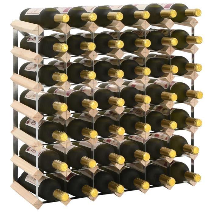 Casier à bouteilles Étagère à bouteille Cave à vin de conservation 42 bouteilles Pinède solide