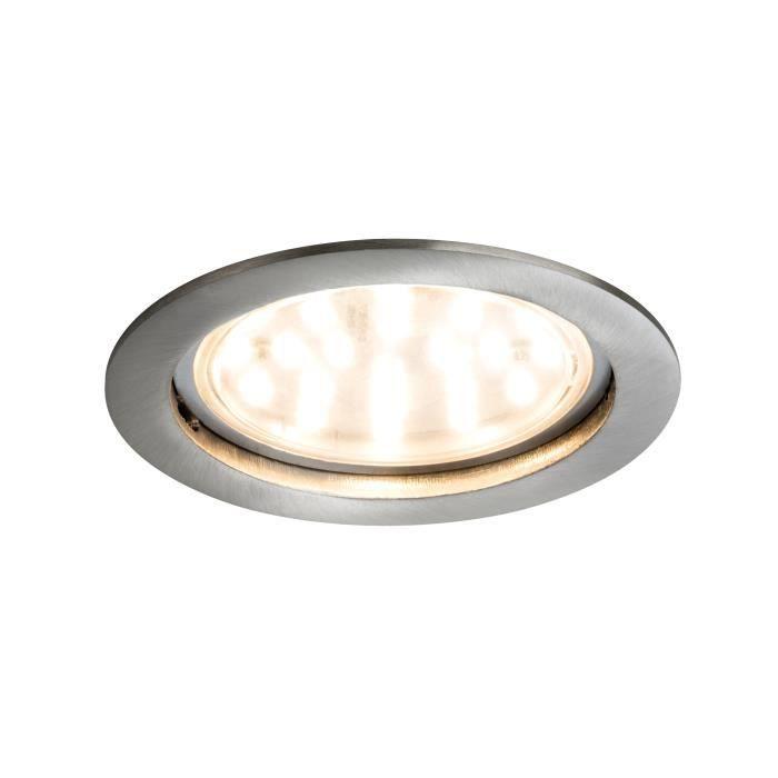 Paulmann 92782 Encastré LED Coin clair rond 14W acier Kit unitaire à intensité variable