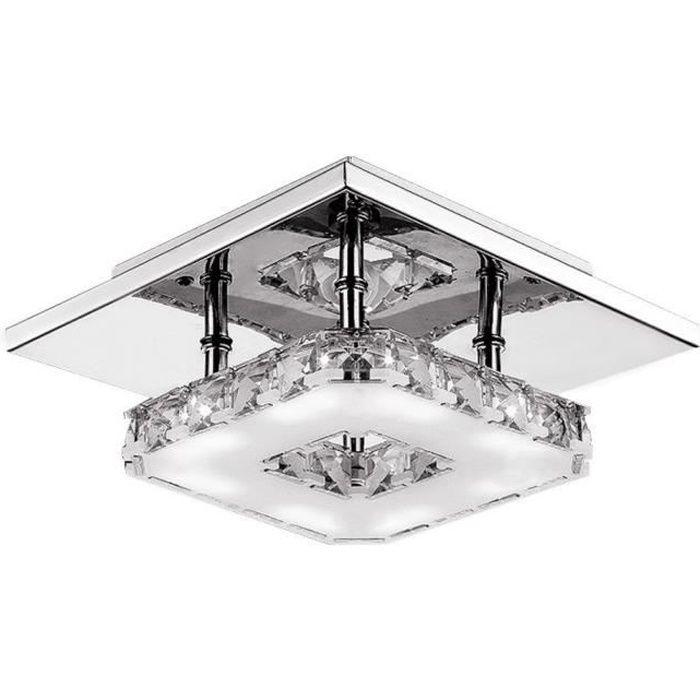 Moderne LED Plafonnier Cristal Brillant Miroir Acier Inoxydable Luminaire Lustre Eclairage (Blanc)