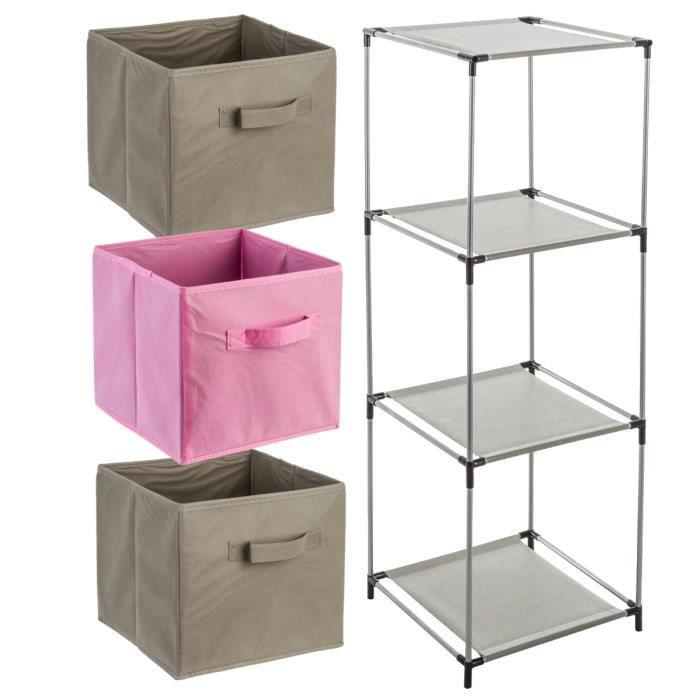 kit de 4 pi ces enfants 1 etag re casier 3 tiroirs rose et taupe rose achat vente. Black Bedroom Furniture Sets. Home Design Ideas