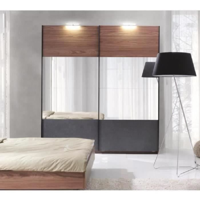 armoire renato 2 portes coulissantes avec miroirs garde robe pour chambre coucher dressing. Black Bedroom Furniture Sets. Home Design Ideas