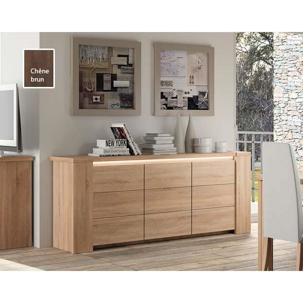 buffet bahut ch ne clair ou ch ne fonc avec clairage en option contemporain adriely 3 ch ne. Black Bedroom Furniture Sets. Home Design Ideas