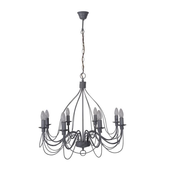 corep lustre chandelier en m tal symphonie 8 lumi res gris. Black Bedroom Furniture Sets. Home Design Ideas