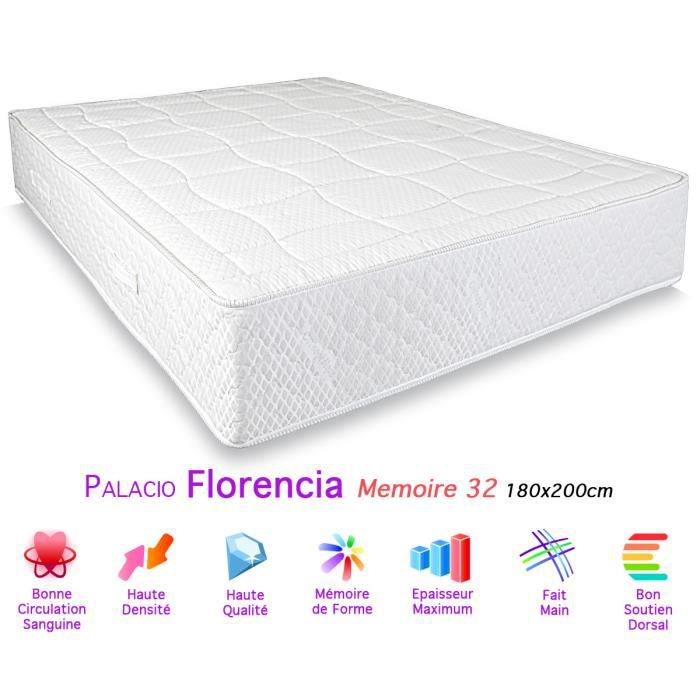 matelas palacio florencia m moire de forme 32 180x200cm achat vente matelas cdiscount. Black Bedroom Furniture Sets. Home Design Ideas