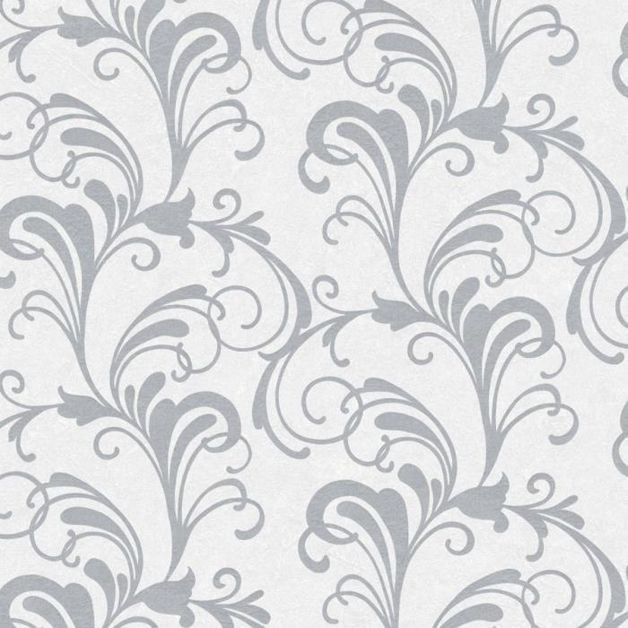 Valentina parchemin Damassé Papier Peint Argent//Blanc Rasch 301823 Paillettes Métalliques