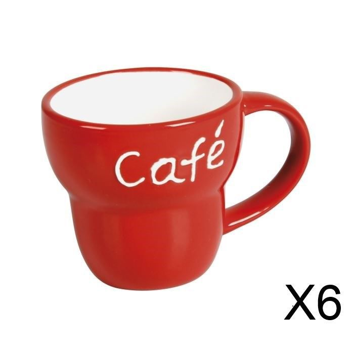 lot de 6 mugs c ramique vas caf rouge achat vente bol mug mazagran cdiscount. Black Bedroom Furniture Sets. Home Design Ideas