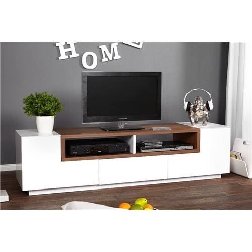 meuble tv design empire marron et blanc achat vente. Black Bedroom Furniture Sets. Home Design Ideas