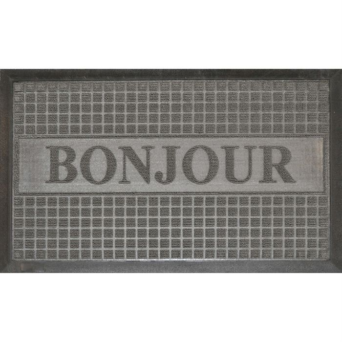 tapis d 39 entr e 45x75cm bonjour gris achat vente tapis. Black Bedroom Furniture Sets. Home Design Ideas