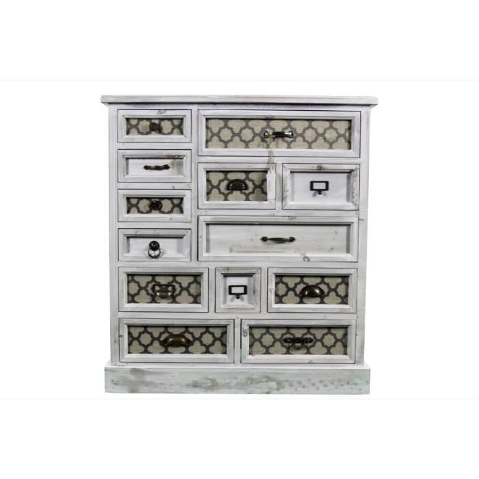 meuble semainier chiffonnier grainetier bois ceruse blanc 13 tiroirs achat. Black Bedroom Furniture Sets. Home Design Ideas