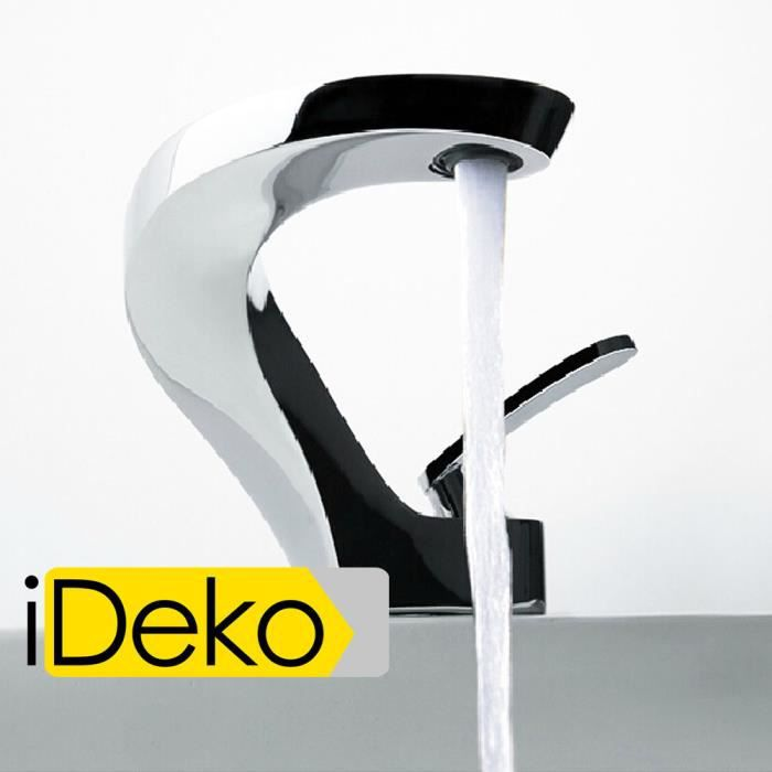 iDeko® Robinet Mitigeur lavabo salle de bain design moderne Laiton  Céramique chrome IDK8151 avec flexibles