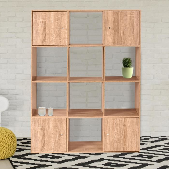 meuble de rangement cube 12 cases bois fa on h tre avec 3 portes achat vente meuble a casier. Black Bedroom Furniture Sets. Home Design Ideas
