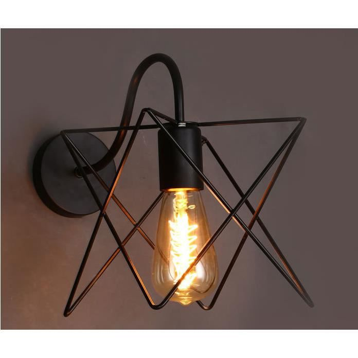 R/étro Metal Applique Murale Noir Lampe Murale Cage Industriel Vintage Luminaire Edison Culot E27 Creative D/écoration Escaliers LOFT ampoules non incluses