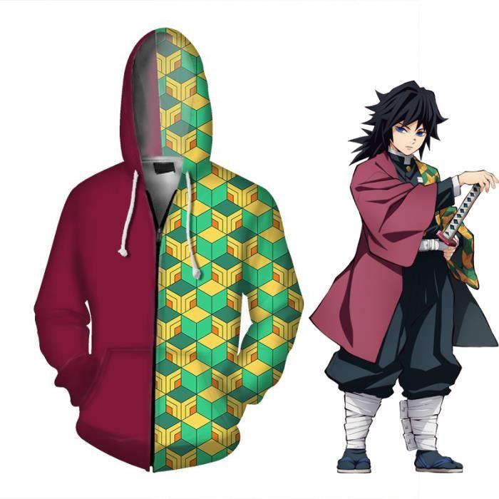 Anime Demon Slayer kimetsu no Yaiba Sweat à Capuche Veste Unisexe Décontracté Zipper Manteau