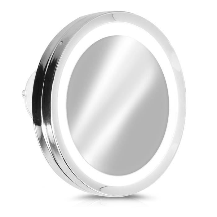 Navaris Miroir Grossissant Eclairage Led Zoom 5x Miroir Mural Lumineux 3x Ventouse Adhesive Salle De Bain Maquillage Beaute