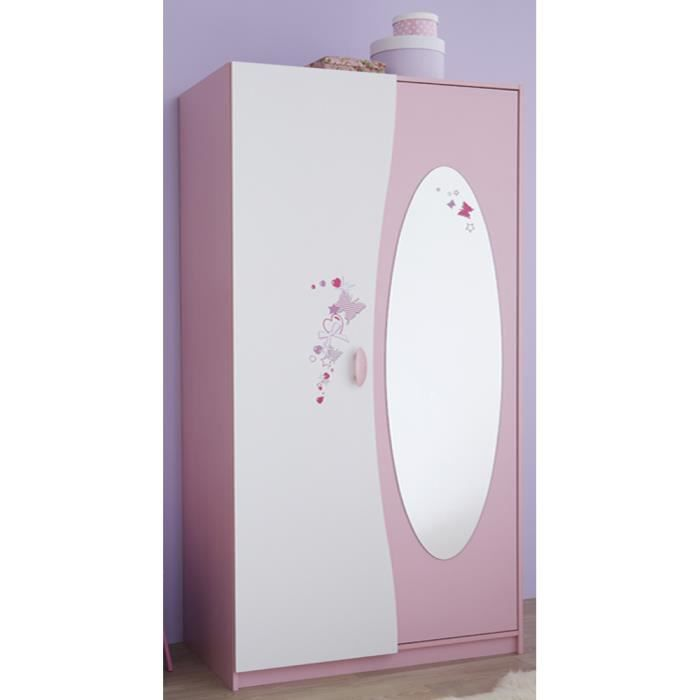 armoire enfant 2 portes miroir coloris rose achat. Black Bedroom Furniture Sets. Home Design Ideas