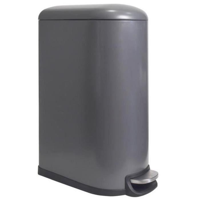 POUBELLE - CORBEILLE Poubelle rectangle 40L en métal coloris gris mat -