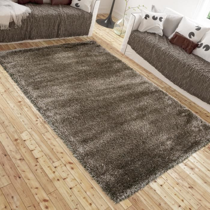 tapis shaggy luxe lotus marron universol achat vente. Black Bedroom Furniture Sets. Home Design Ideas