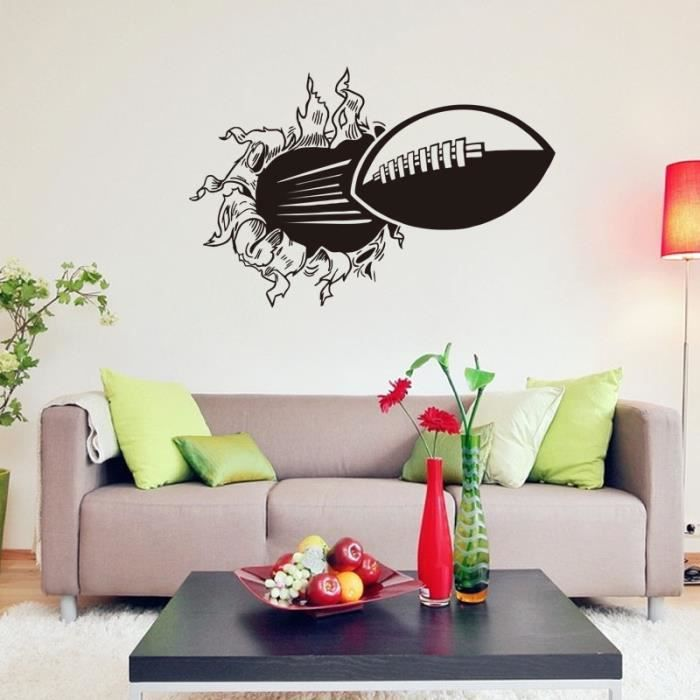 football 3d mur dessin anim mur de la chambre de d coration murale autocollant autocollants. Black Bedroom Furniture Sets. Home Design Ideas
