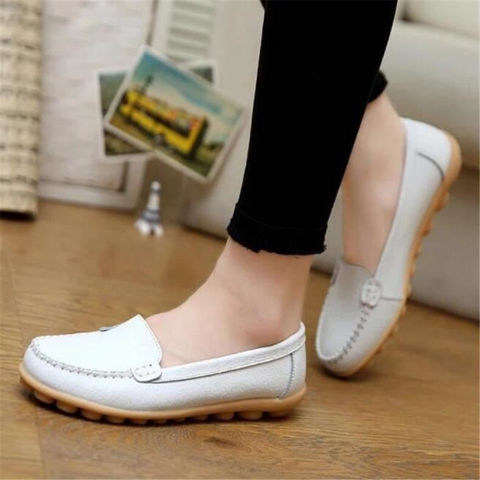 Chaussures xz055blanc36 Ete Femmes Respirant Bxfp Mocassin Loafer YwIqg