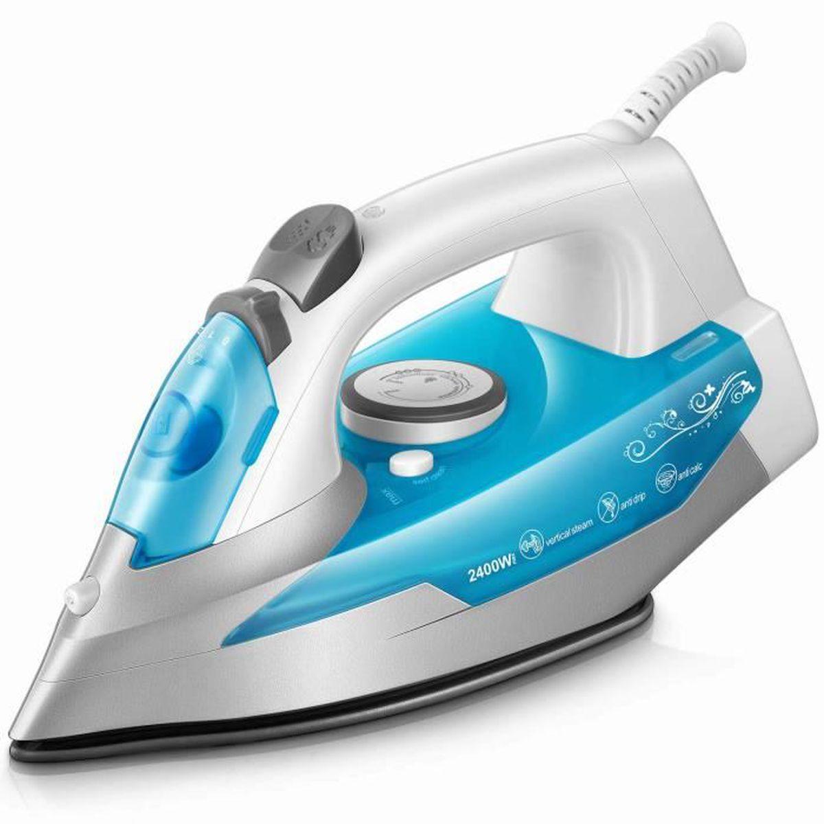 Nettoyer Semelle De Fer fer à repasser 2400w - ktc fer à vapeur - 300 ml - bleu