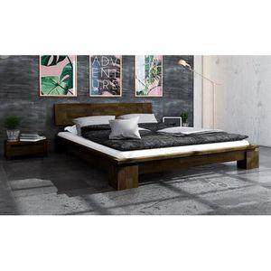 STRUCTURE DE LIT Lit contemporain 160 x 200 en bois massif marron -