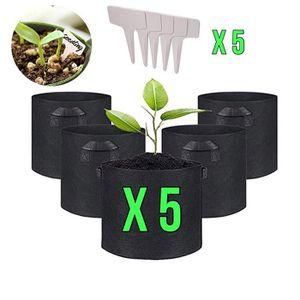 SAC À DÉCHETS VERTS  5pcs Pots de Fleur Sac à Plantes 10 Gallon Sac de
