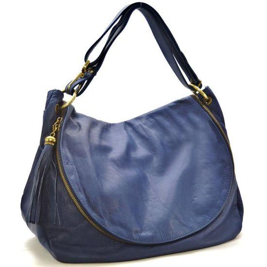 OH MY BAG Sac à Main cuir souple - Modèle 72 heures (gd modèle) bleu foncé
