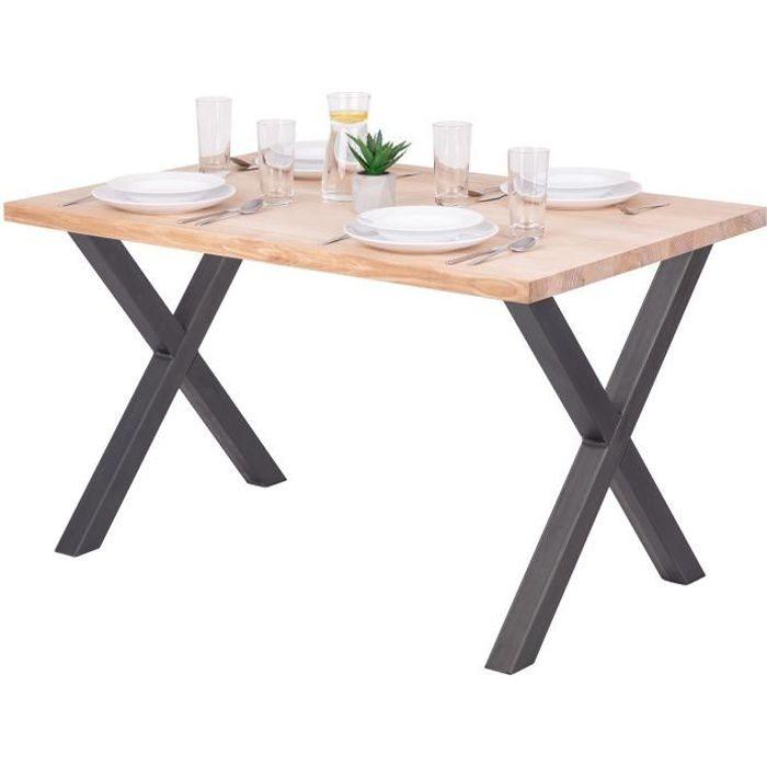LAMO MANUFAKTUR Table à manger industrielle en bois massif - 120x80x76cm - frêne sévère - pieds acier brut - modèle design