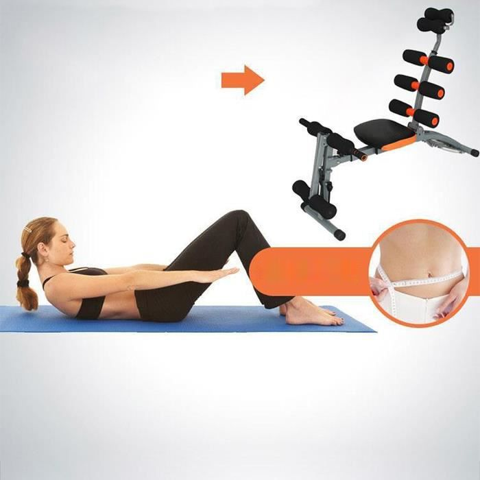 105*55*98cm Appareil abdominaux 6 en 1 - Banc de musculation - Noir et orange @ Yage
