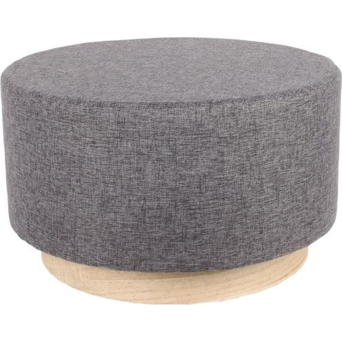 THE HOME DECO FACTORY Pouf Scandinave Anthracite - 60 cm M1