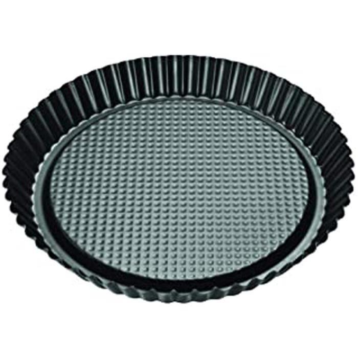 6522 Moule à tarte 30 cm, moule pour tartes, plat à tarte, moule à tarte renversée, moule à tarte, Acier inoxydable, Noir, 30 cm