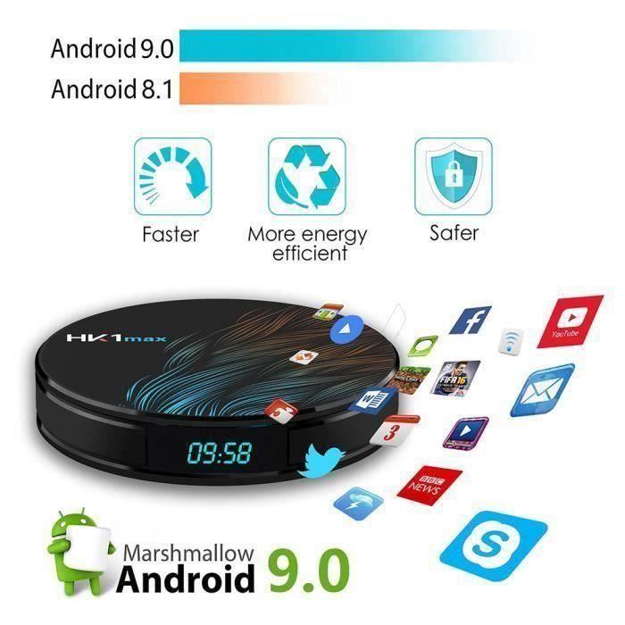 HK1max TV BOX 4+64G Android 9.0 2.4G-5G Wi-Fi BT 4.0 RK3328 Quad Core 4K 1080P Full HD Boite de télévision intelligente décodeur