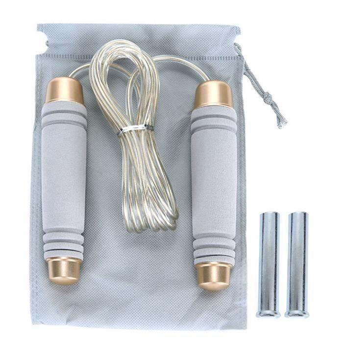 Gris Xcool-art réglable 10 pieds câble de vitesse pondérée corde de saut pour CrossFit Boxing cardio HIIT séances d\'entraînement