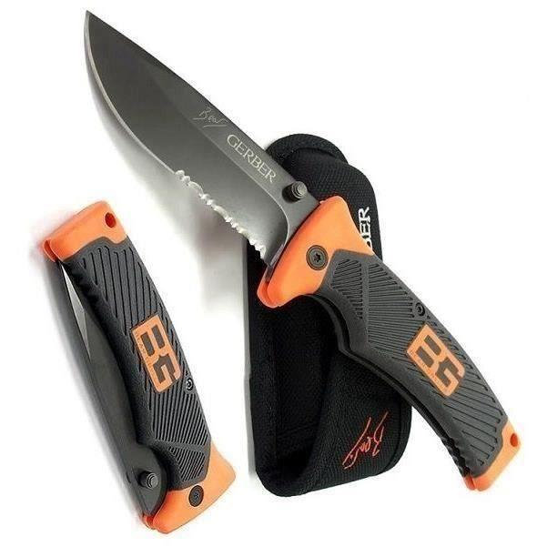 GRAND COUTEAU DE SURVIE BEAR GRYLLS GERBER FOLDING SHEATH KNIFE DANS FOUREAU Y533 G0B836