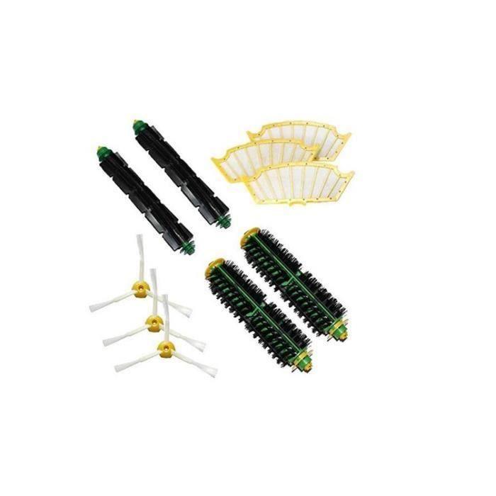 Kit brosses centrales compatibles pour iRobot Roomba + 3 filtres + 3 brosses latérales à 3 bras Série 500 510 520 521 530 ... a667
