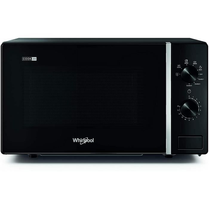 Whirlpool MWP 103 B Four &agrave micro-ondes Cook 20 + Grill, 20 litres, noir, avec grille haute, 700 W